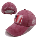 Opromo American USA Flag Embroidered Vintage Washed Cotton Baseball Cap Adjustable Hat,6 Colors