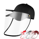 Opromo Protective Face Shield for Adult Kids, Unisex Baseball Cap with Removable Flexible Clear PVC Face Cover