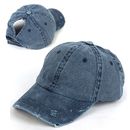 Opromo Vintage Distressed Washed Cotton Unstructured High Ponytail Baseball Cap Dad Hat, Adjustable Messy High Bun Ponycap