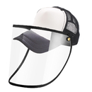 Opromo Protective Face Shield for Adult, Unisex Mesh Trucker Baseball Cap with Removable Flexible Clear PVC Face Cover