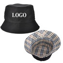 Custom Cotton Twill Reversible Bucket Hat - Plaid Inside, One Size Fits All