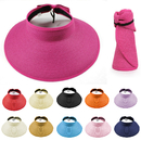 Opromo Summer Kids Collapsible Beach Sun Visor Foldable Roll up Wide Brim Straw Hat