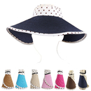 Opromo Roll-Up Polka Dot Wide Brim Bowknot Straw Visor Beach Floppy Sun Hat