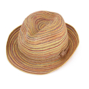 Opromo Boho Womens Rainbow Striped Straw Beach Sun Hat Trilby Fedora Panama Hat