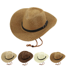 Opromo Unisex Wide Brim Straw Cowboy Hats Western Panama Beach Sun Hat Caps