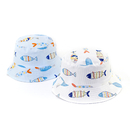 Opromo Baby Boys Cotton Reversible Bucket Sun Hat Kids Sun Protection Cap with Chin Strap