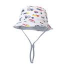 Opromo Toddler Kids Summer Bucket Hat Cartoon Car Pattern Beach Sun Protection Hat