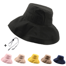 Opromo Women's UPF 50+ Wide Fold-up Brim Sun Hat Summer Cotton Linen Bucket Hat