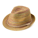 Opromo Kids Summer Straw Beach Sun Hat - Child Short Brim Trilby Fedora Panama Hat