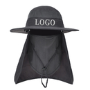 Custom Unisex Summer Outdoor Wide Brim Mesh Bucket Sun Hat Adjustable Neck&Face Flap Cap Fishing Boonie Hat w/ Chin Srap