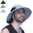 Opromo Unisex Water Resistant Outdoor Wide Brim Mesh Bucket Sun Hat Adjustable Fishing Boonie Hat w/ Chin Strap