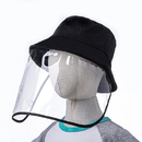 Opromo Kids Protective Face Shield, Unisex Polyester Bucket Sun Hat with Removable Clear Flexible PVC Face Cover