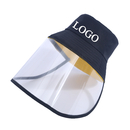 Custom Unisex Polyester Bucket Sun Hat with Removable Clear Flexible TPU Face Cover,Protective Face Shield