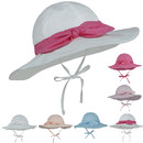 Opromo Baby Girls UV Sun Protection Boonie Hat with Bow & Chin Strap,Bucket Hat for Kids Toddler Baby