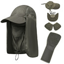 Opromo Unisex Folding Waterproof Sun Hat with Removable Neck Flap & Face Mask, Quick-Dry Flap Cap for Men Women