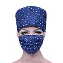 Opromo Unisex Adjustable Tie Back Scrub Cap Bleach Friendly Hat With Free Masks