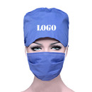 Custom Cotton Scrub Cap with Sweatband and Free Reusable Cotton Mask,Bleach Friendly Tie Back Premium Scrub Hat Mask Set