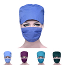 Opromo Bleach Friendly Tie Back Cotton Scrub Cap with Sweatband and Free Reusable Cotton Mask,Cotton Scrub Hat Mask Set