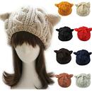 Opromo Women's Devil Horn Hat Cute Cat Ears Crochet Braided Knit Wool Beanie Cap