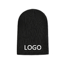 Custom Embroidered Rib Knit Beanie Winter Baggy Ski Hat Knitted Cap