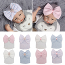 Opromo Newborn Hospital Hat Infant Baby Hat Cap with Big Bow Knot Nursery Beanie