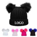 Custom Embroidery Winter Chunky Pom Pom Knit Cap for Women,Double Faux Fur Pom Pom Beanie Hat