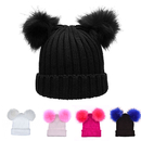 Opromo Cute Women's Winter Chunky Knit Cap Double Faux Fur Pom Pom Beanie Hat