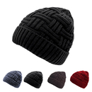 Opromo Men's Winter Knitting Skull Cap Wool Warm Fleece Lined Slouchy Beanie Hat