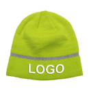 Custom Embroidered Hi Vis Beanie Hat with Reflective Stripe High Visibility Hat