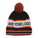 Custom Pom Pom Knit Beanie With  Logo,  Skull Knitted Beanie Hat