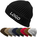 Custom Embroidery Winter Warm  Mens Knit Beanie Hats,Thick & Warm Cable Ribbed Knit Styles Cuff Beanie