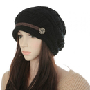 Opromo Women Winter Beanie Slouchy Cabled Checker Pattern Knit Hat Button Strap Cap