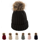 Opromo Womens Girls Winter Knit Bobble Hat Faux Raccoon Fur Pom Pom Beanie Hat