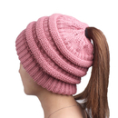 Opromo Beanie Tail Womens Ponytail Messy Bun Hat Slouchy Chunky Knit Hat Cap