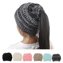 Opromo Ages 3-12 Beanie Tail Children's Ponytail Messy Bun Beanie Ribbed Knit Hat