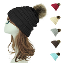 Opromo Women's Winter Faux Fur Pom Pom Hat Warm Chunky Cable Knit Slouchy Beanie