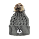 Custom Kids Beanie Winter Knit Beanie Hat with Faux Fur Pom Pom Ski Hat