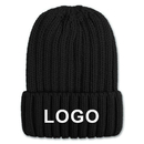Custom Unisex Chunky Rib Knit Hat Winter Ribbed Knit Cuff Beanie Skull Cap