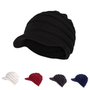 Opromo Warm Cable Ribbed Knit Beanie Hat with Visor Brim Chunky Winter Skully Cap