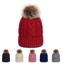 Opromo Womens Winter Fleece Lined Cable Knit Hat Faux Fur Pom Pom Beanie Hat
