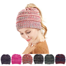 Opromo Womens BeanieTail Stretch Cable Knit Messy High Bun Ponytail Beanie Hat