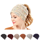 Opromo Women Girls Beanie Tail Stretch Cable Knit Messy High Bun Ponytail Beanie Hat