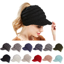 Opromo BeanieTail Cable Ribbed Knit Messy High Bun Ponytail Beanie Hat w/ Visor Brim