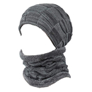 Opromo Men's Winter Knit Skull Cap Fleece Warm Slouchy Beanies Hat Scarf Set