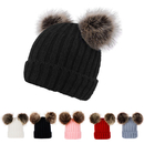 Opromo Men & Women's Winter Chunky Cable Knit Beanie with Faux Fur Pompom Ears