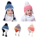 Opromo Infant Baby Toddler Boys Fleece Lined Winter Hat with Earflaps Knit Peruvian Hat