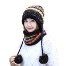 Opromo Fleece Lined Women Knit Beanie Scarf Set Winter Ski Earflap Hat withPompom
