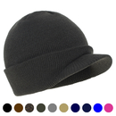 Opromo Unisex Winter Warm Soft Stretch Double Knit Beanie Hat with Visor