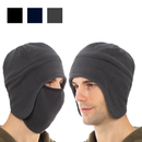 Opromo Winter Unisex 2 in 1 Double Layer Thick Warm Soft Fleece Skull Cap Beanie with Ear Covers and Face Mask