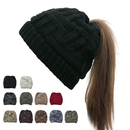 Opromo Women's Winter Warm Ponytail Knit Beanie Hat, Thick and Soft Ski Skull Cap with High Ponytail Slot